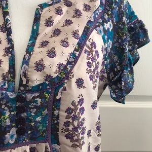 Anthropologie Purple/Blue/Nude Floral Silk Top